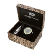 Mossy Oak® Mens Knife and Black Leather Strap Watch Set