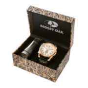 Mossy Oak® Mens Flashlight and Black Leather Strap Watch Set
