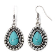 Arizona Aqua Stone Silver-Tone Teardrop Earrings