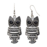 Arizona Owl Silver-Tone Drop Earrings
