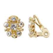 Monet® Crystal-Accent Gold-Tone Clip-On Earrings