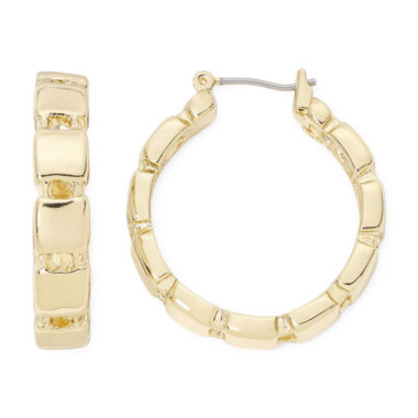 jcpenney.com | Monet® Gold-Tone Square Link Hoop Earrings