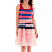 Tiana B. Sleeveless Multi-Striped Fit-and-Flare Dress