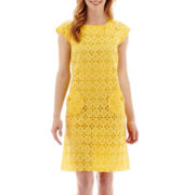 R&K Originals® Cap-Sleeve Crochet Lace Shift Dress