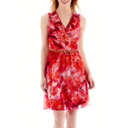 Alyx® Sleeveless Tropical Print V-Neck Ruffle-Front Dress