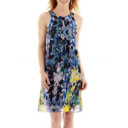 Alyx® Sleeveless Multi-Print Chiffon Trapeze Dress