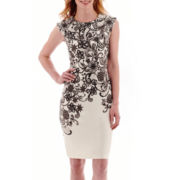 R&K Originals® Cap-Sleeve Floral Print Scuba Knit Sheath Dress