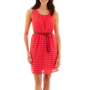 Alyx® Sleeveless Crochet Belted Dress - Petite