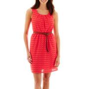 Alyx® Sleeveless Crochet Belted Dress - Petite