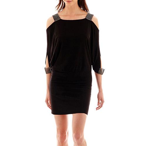 DJ Jaz 3/4-Sleeve Cold-Shoulder Drape-Front Blouson Dress