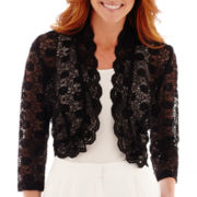 R&M Richards 3/4-Sleeve Lace Bolero Shrug