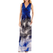 Liz Claiborne® Sleeveless Palm Print V-Neck Maxi Dress