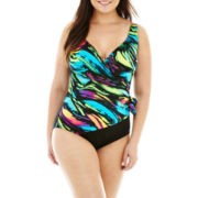 Delta Burke® Surplice 1-Piece Tank Swimsuit - Plus