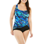 Robby Len by Longitude® Sash 1-Piece Tank Swimsuit - Plus