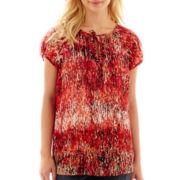 Liz Claiborne® Short-Sleeve Peasant Top - Petite