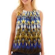 Liz Claiborne® Sleeveless Pleated-Neck Popover Top - Petite