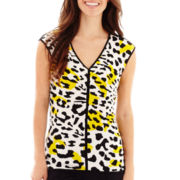 Worthington® Short-Sleeve Piped V-Neck Print Top