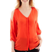 Worthington® 3/4-Sleeve Cold-Shoulder Blouse