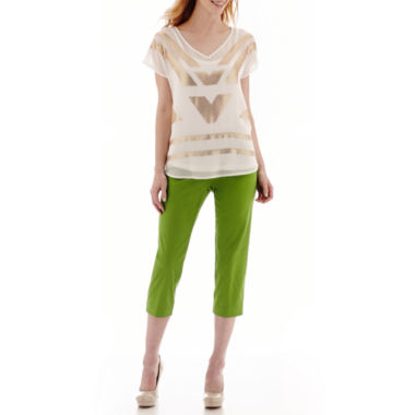 jcpenney.com | Worthington® Beaded Blouse or Sateen Cropped Pants
