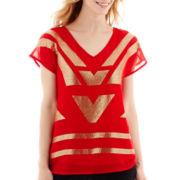 Worthington® Short-Sleeve Sequin Blouse