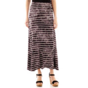 Unity™ Space-Striped Foldover-Waistband Maxi Skirt - Petite