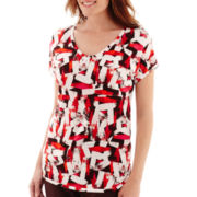 Liz Claiborne® Short-Sleeve Print V-Neck T-Shirt