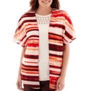 Liz Claiborne® Short-Sleeve Kimono Cardigan
