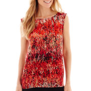Liz Claiborne® Sleeveless Print High-Low Blouse - Tall