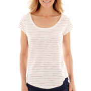 Liz Claiborne® Short-Sleeve Striped Textured T-Shirt - Tall