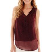 Liz Claiborne® Sleeveless Ruffle-Neck Print Blouse