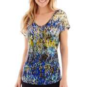 Liz Claiborne® Short-Sleeve Print V-Neck Top