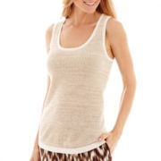 Liz Claiborne® Sleeveless Crochet Flax Shell