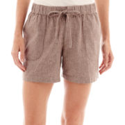 Liz Claiborne® Striped Linen Shorts - Tall