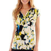 Liz Claiborne® Short-Sleeve High-Low Print Henley Top - Tall
