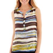 Liz Claiborne® Striped Woven Tank Top
