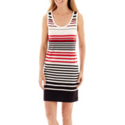 Liz Claiborne® Sleeveless Striped Pocket Dress – Tall