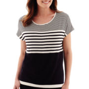 Liz Claiborne® Short-Sleeve Weekend Striped Knit Top