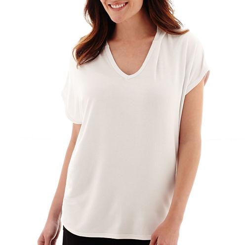 Liz Claiborne® Cap-Sleeve Weekend Hooded T-Shirt