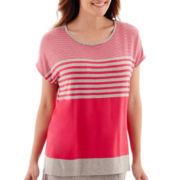 Liz Claiborne® Short-Sleeve Weekend Striped Knit Top