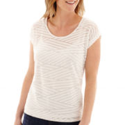 Liz Claiborne® Short-Sleeve Weekend Burnout T-Shirt