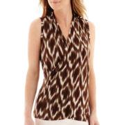 Liz Claiborne® Diamond Print Faux-Wrap Tank Top