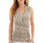 Liz Claiborne® Print Faux-Wrap Tank Top