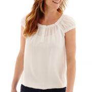 Liz Claiborne® Cap-Sleeve Peasant Blouse