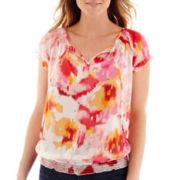 Liz Claiborne® Cap-Sleeve Print Peasant Blouse