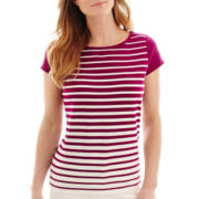 Liz Claiborne® Cap-Sleeve Striped Top