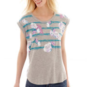 I Heart Ronson® Short-Sleeve Floral Striped T-Shirt