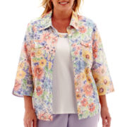 Alfred Dunner® Sunrise Point 3/4-Sleeve Floral Print Layered Top - Plus