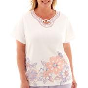 Alfred Dunner® Sunrise Point Short-Sleeve Floral Appliqué Top - Plus