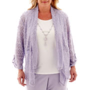 Alfred Dunner® Sunrise Point 3/4-Sleeve Knit Layered Top with Necklace - Plus
