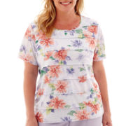 Alfred Dunner® Sunrise Point Short-Sleeve Tiered Ruffle Top - Plus